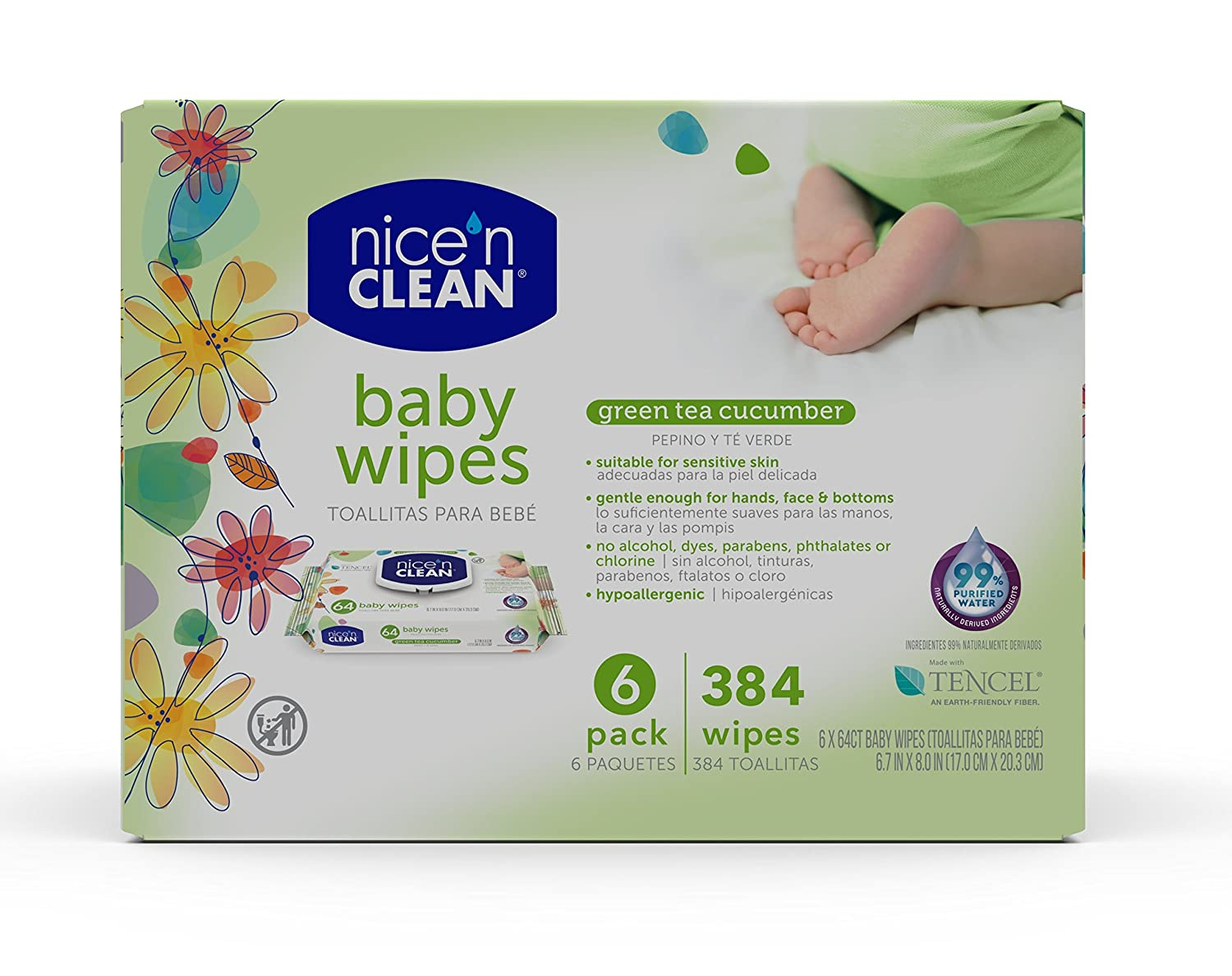 Amazon.com: Nice n Clean Green Tea & Cucumber Baby Wipes, 64 Count: Health & Personal Care