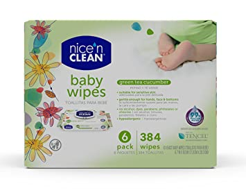 Nice n Clean Green Tea & Cucumber Baby Wipes, 384 Count