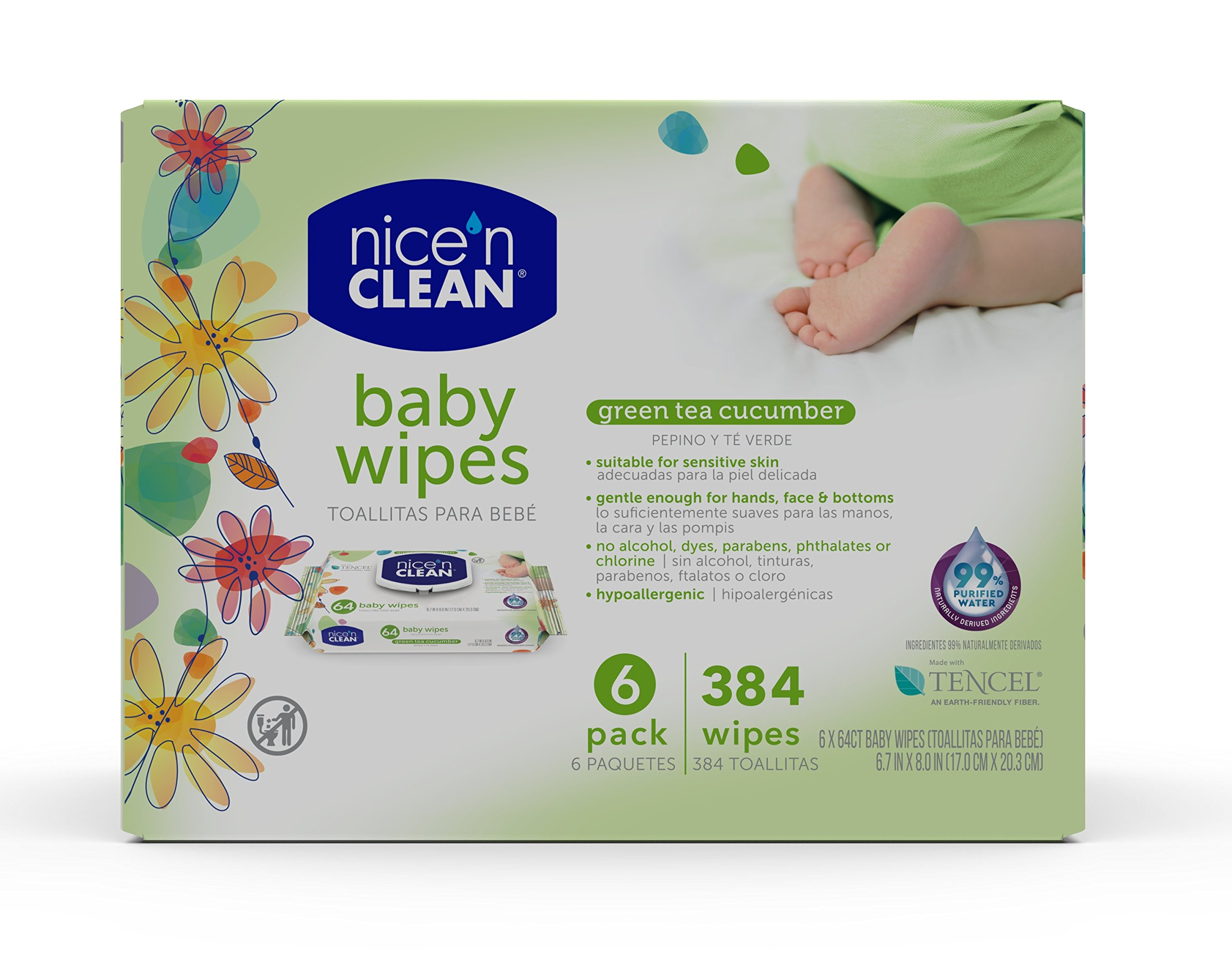 Nice 'n Clean Scented Baby Wipes (64 Total Wipes) | Suitable for Sensitive Skin on Hands, Face, & Bottom | Made w/Plant…