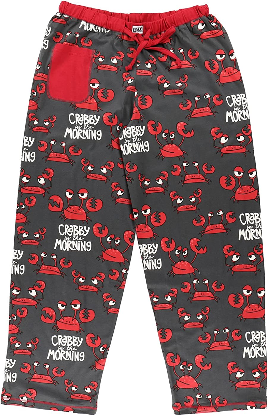 Lazy One HPP374 Women's Crabby Grey and Red Cotton Pajama Pyjama Pant