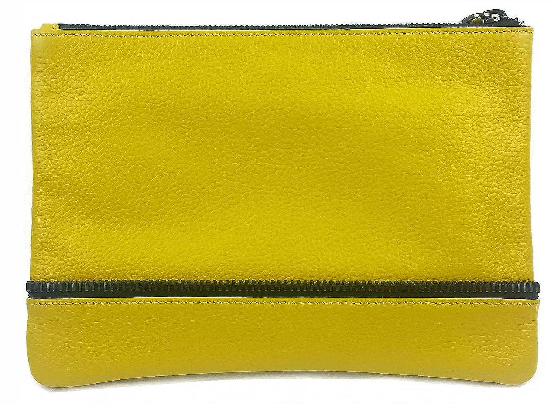 """Allegra"" Pouch-style Clutch, Soft Leather, Gunmetal Zipper & Zipper Accent, Saffron Yellow"
