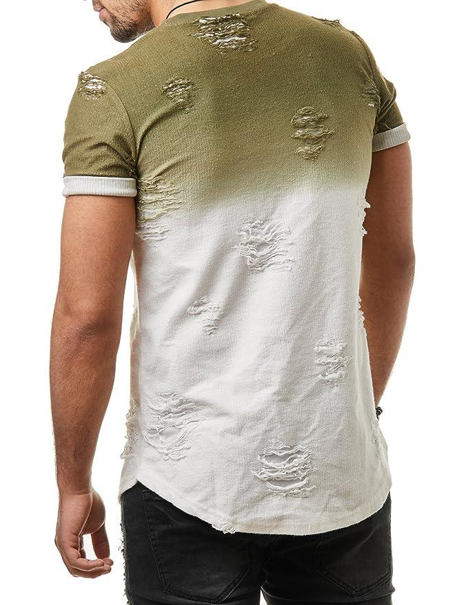 acf82244a2de EightyFive Herren T-Shirt Basic Regular Destroyed Zerrissen Grau Grün  EF09165  Amazon.de  Bekleidung
