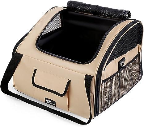 amzdeal – transporte de coche para mascota perro/gato/Booster Bag-Beige (S/M)