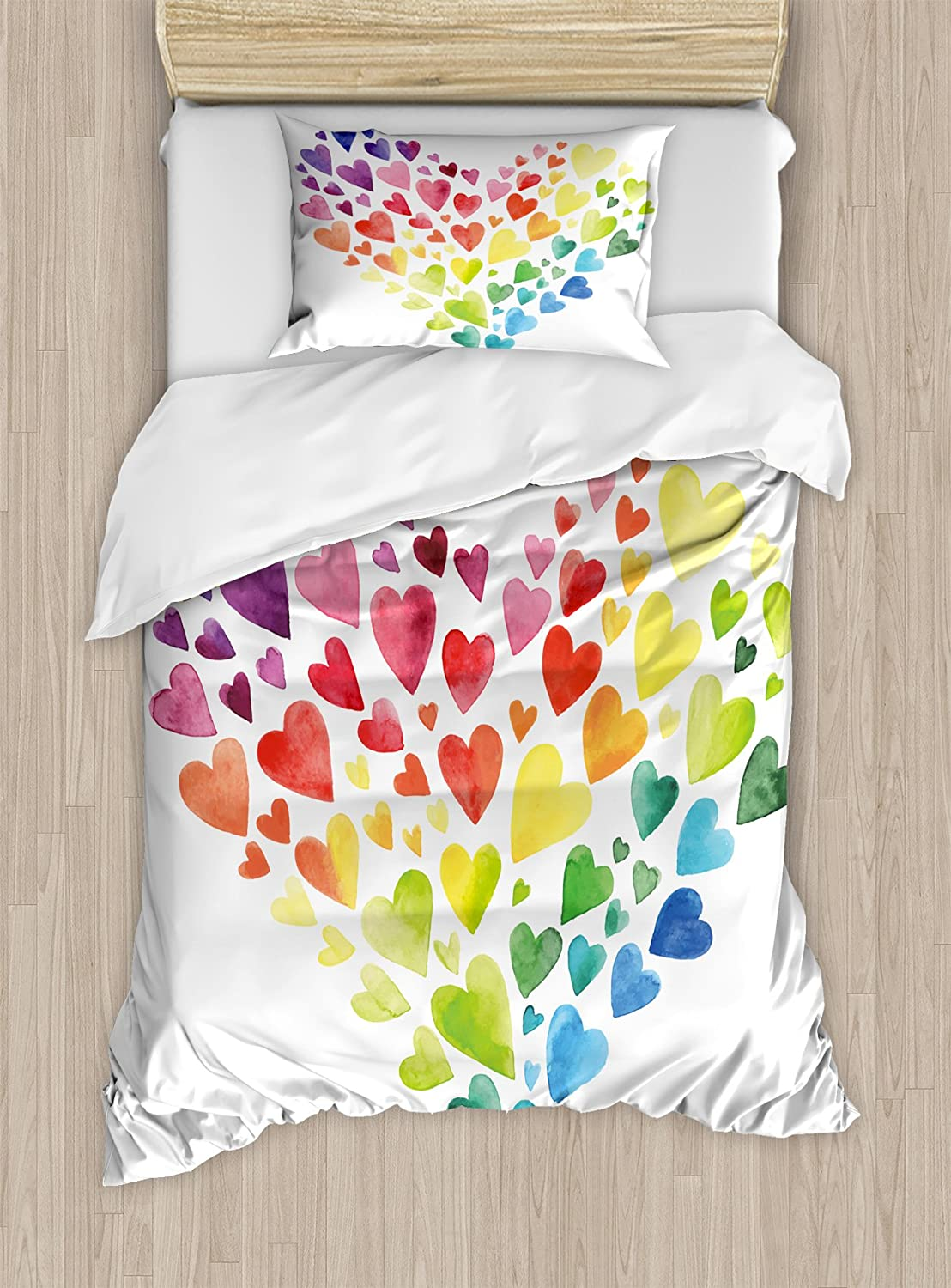 Ambesonne Rainbow Duvet Cover Set Twin Size, Multicolored Hearts forming a Giant Colorful Rainbow Inspired Heart Love Artwork, Decorative 2 Piece Bedding Set with 1 Pillow Sham, Multicolor