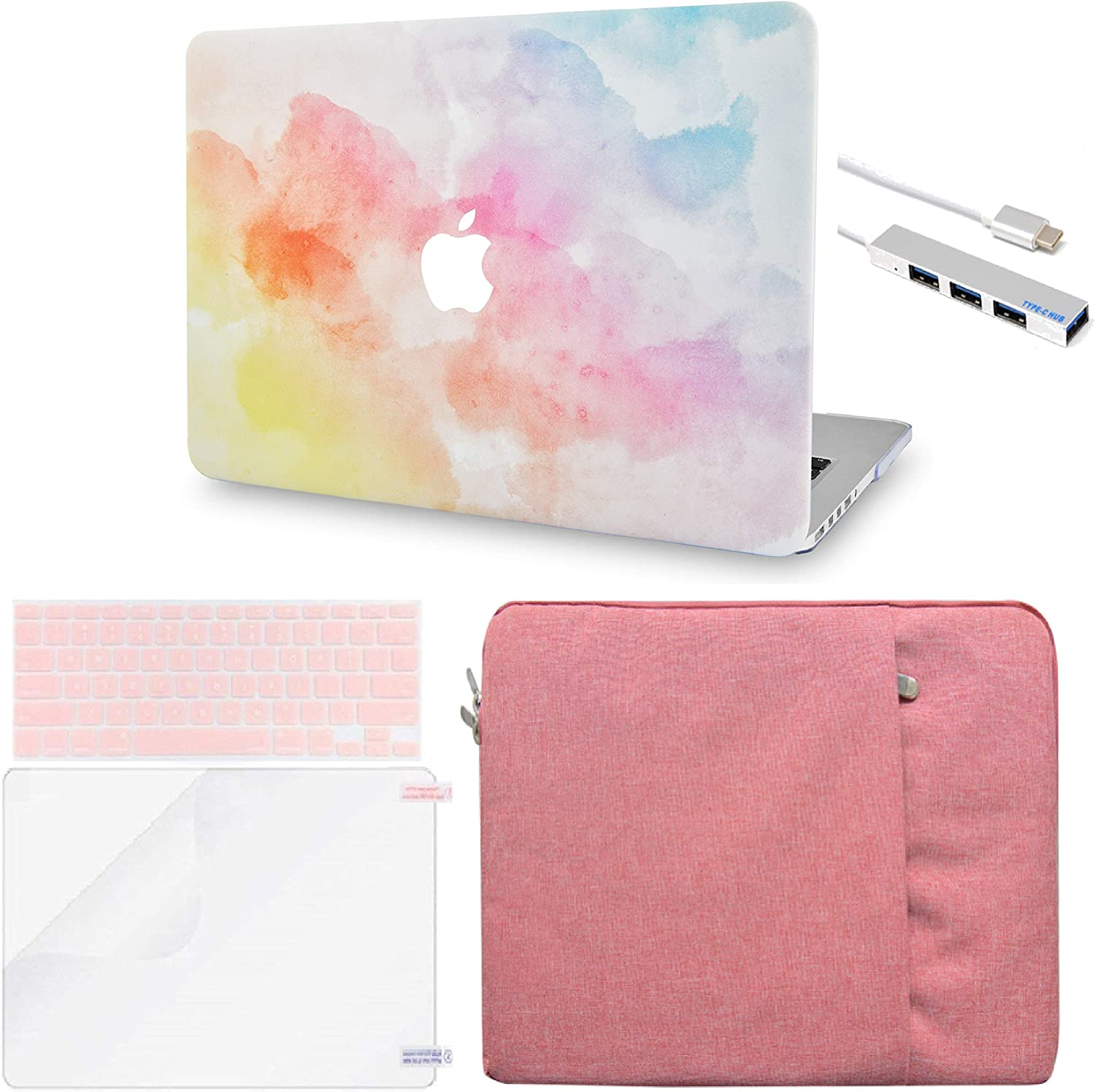 LuvCase 5in1 LaptopCase for MacBook Air 13 Inch (Touch ID)(2018-2020) A1932 Retina Display HardShellCover, Sleeve, USB Hub 3.0, Keyboard Cover & Screen Protector (Dreamy Mist)