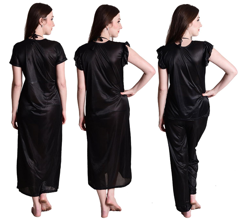 Senslife Satin Nightwear Sleepwear Solid 4pc Set of Nighty 575a23547