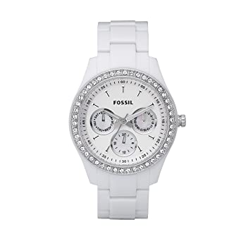 234105ac8de1 Fossil Women s Stella Quartz Stainless Steel and Resin Chronograph Watch