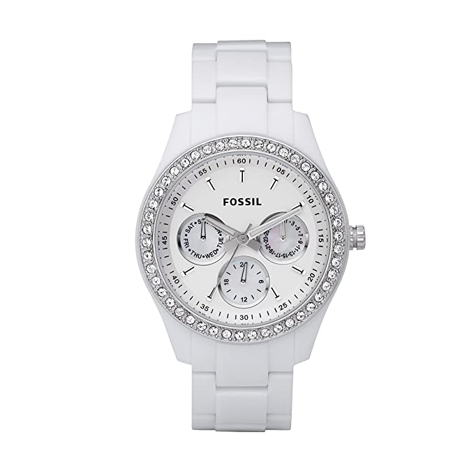 424b3f28fc5a Amazon.com  Fossil Women s Stella Quartz Stainless Steel and Resin  Chronograph Watch