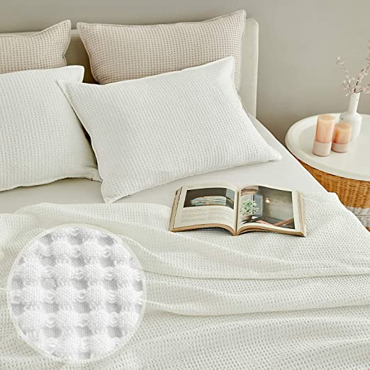MHD l Modal Waffle Blanket : Breathable for Hot Sleeper, Skin-Friendly Natural Material - Pure Cotton Blended Modal Fabric, King Size (82