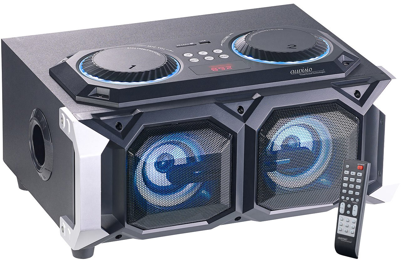 auvisio Boombox: 2.1-Stereo-Partyanlage, Bluetooth mit Karaoke-Funktion, 100 W, USB, SD (Partybox) ZX-1672