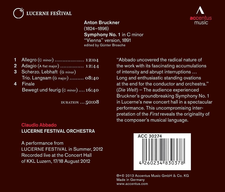 Sinfonie 1 (Wiener Fassung 1891) - Abbado, Lucerne Festival Orchestra,  Anton Bruckner: Amazon.de: Musik