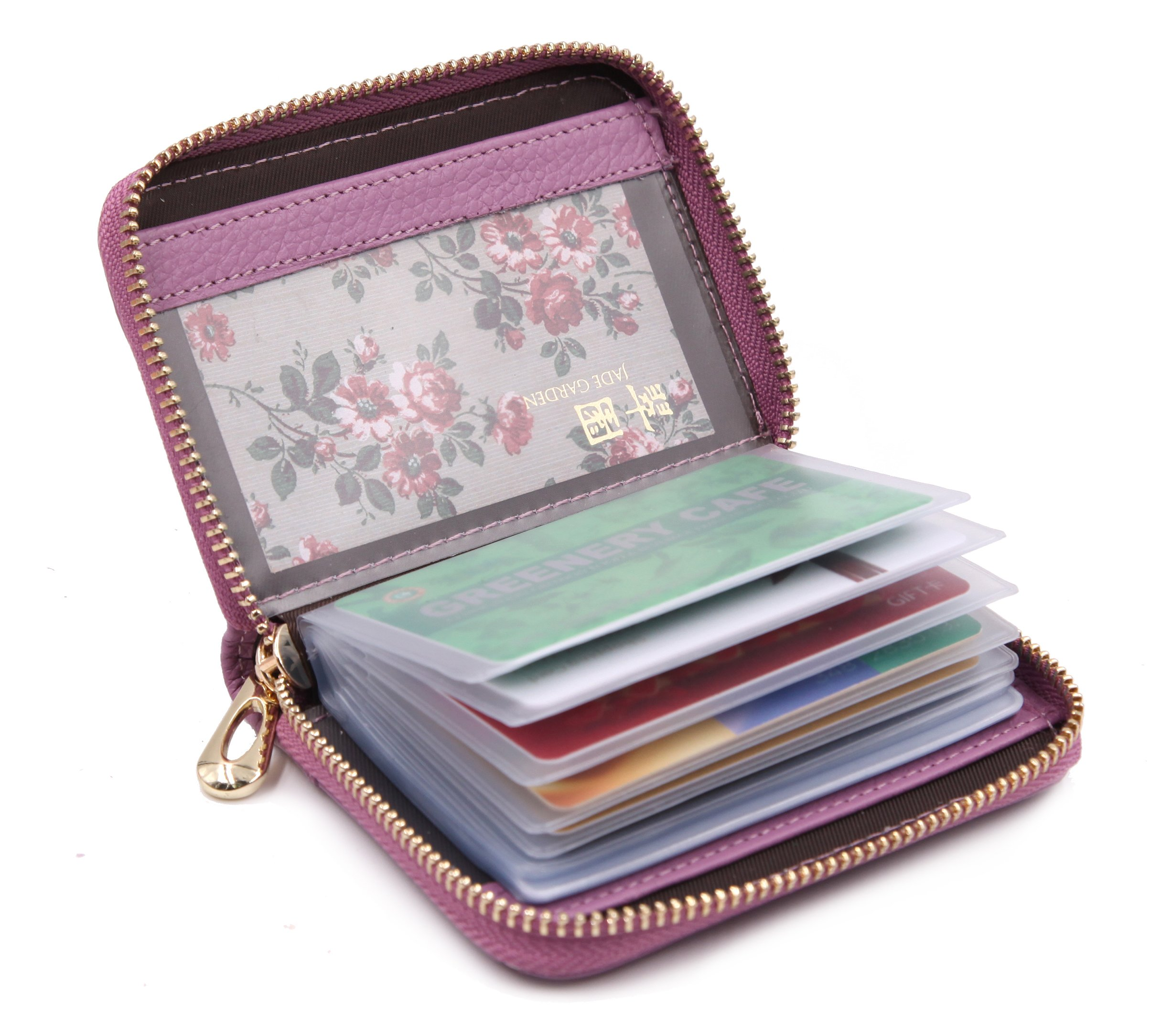 Women's Credit Card Case Wallet With 2 ID Window and Zipper Card Holder Purse (Purple)