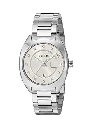 c0b99eace00 Amazon.com  Gucci Swiss Quartz Stainless Steel Dress Silver-Toned ...