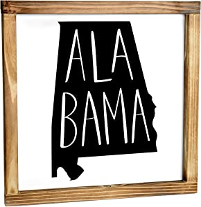 Alabama Sign - Rustic Farmhouse Decor For The Home - Alabama State Sign, Modern Farmhouse State Gift, Alabama Wall Decor, State Souvenir, Rustic Home Decor Sign With Solid Wood Frame 12x12 Inch