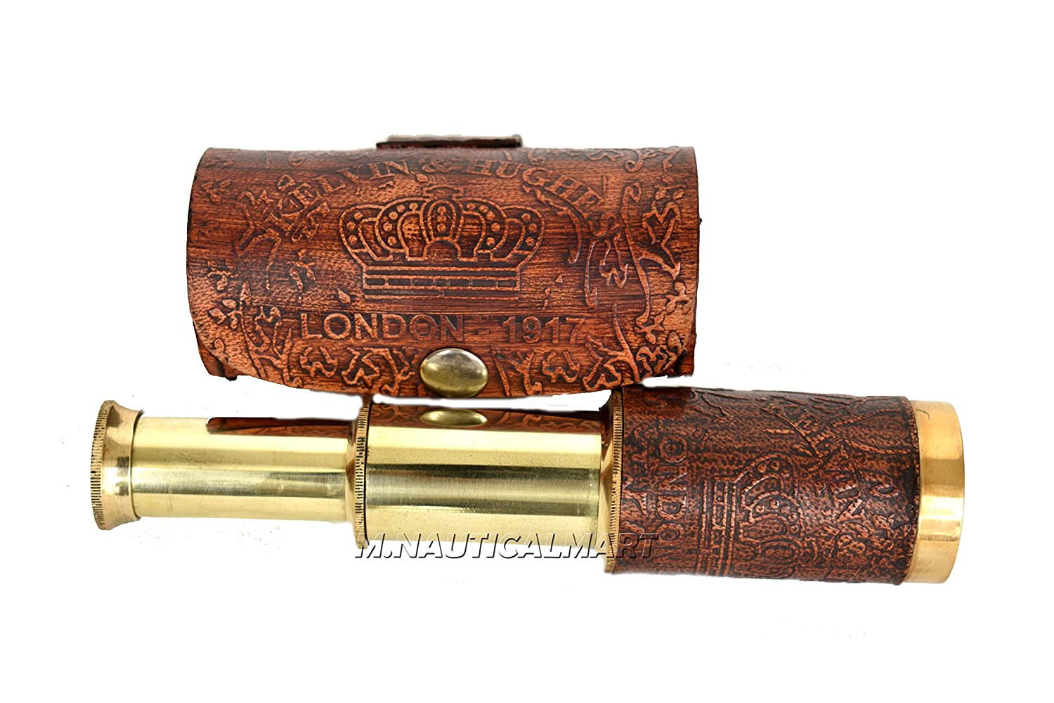Folding Telescope Vintage Shiny Brass Maritime Royal Navy Style with Lather Box Dcorative M.Nauticalmart