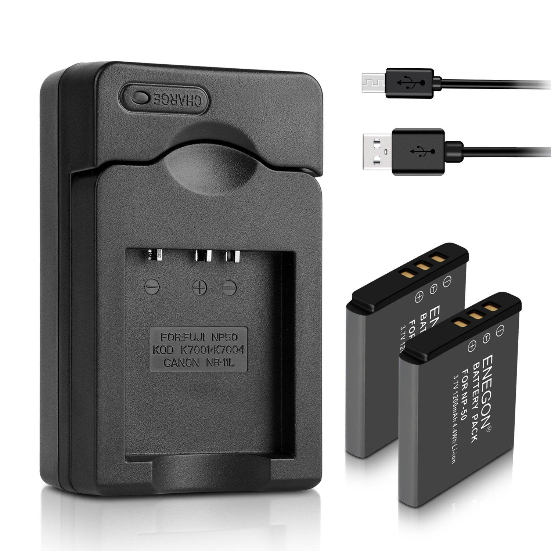 ENEGON Batería de Repuesto (Paquete de 2) y Cargador para Fujifilm NP-50 BC-45W BC-50 y Fuji FinePix F50FD F60FD F100FD F200EXR RF600EXR F800EXR X10 ...