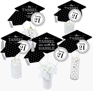product image for Big Dot of Happiness Silver -Tassel Worth The Hassle - 2021 Graduation Party Centerpiece Sticks - Table Toppers - Set of 15