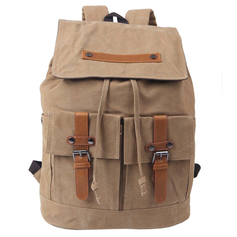"Freeprint Vintage Canvas Laptop Backpack Travel Rucksack School Bag in Medium Size fits 15.6"" Computers for Men and Women, Khaki"