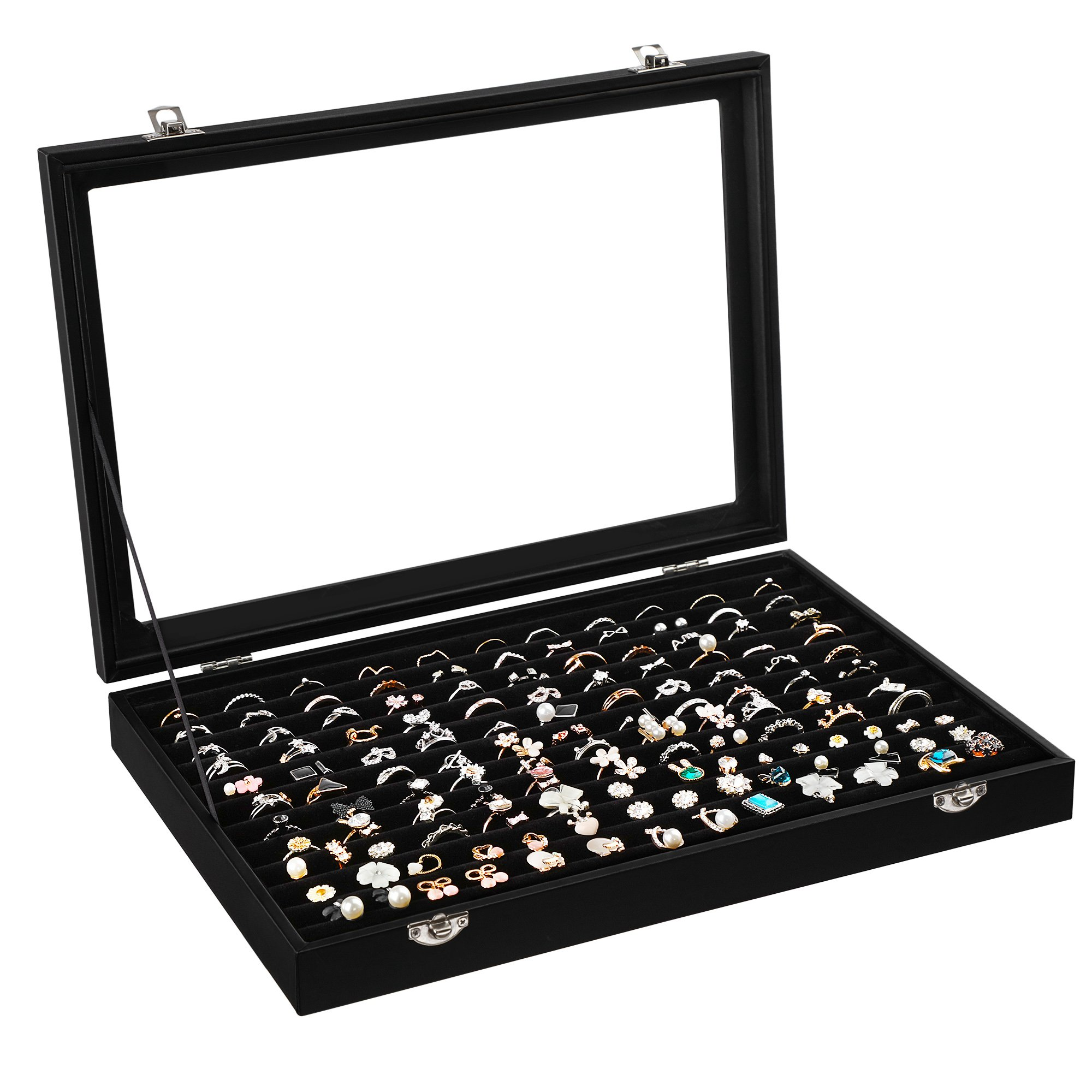 SONGMICS 120 Ring Display Case 11 Rows Jewerly Organizer Earring Showcase Box with Glass Lid Black UJDS301