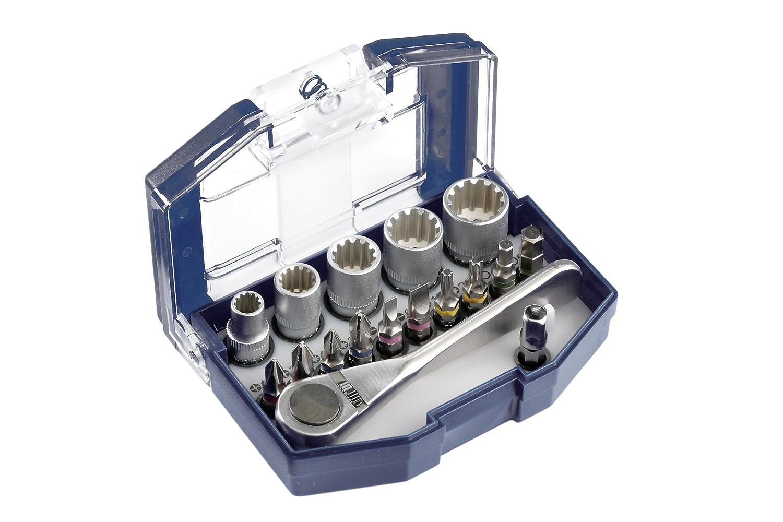 kwb Bit-Box – 17-teilig inkl. Bits, Umschalt-Knarre mit 1/4 Zoll Sechskant-Aufnahme in stabiler Kunststoff-Box mit Gürtelclip 49118900
