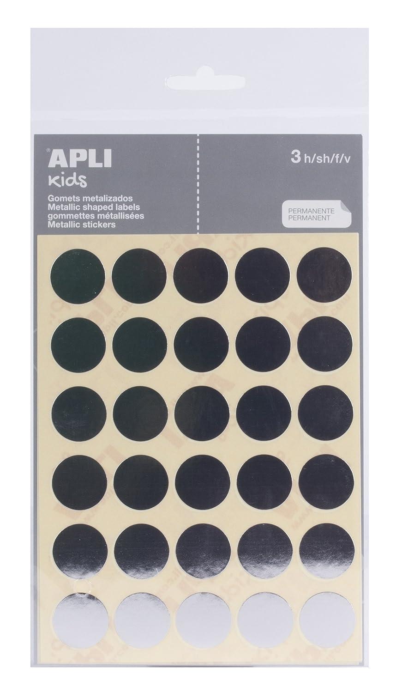 color plata 3 hojas APLI Bolsa de pegatinas redondas 20 mm