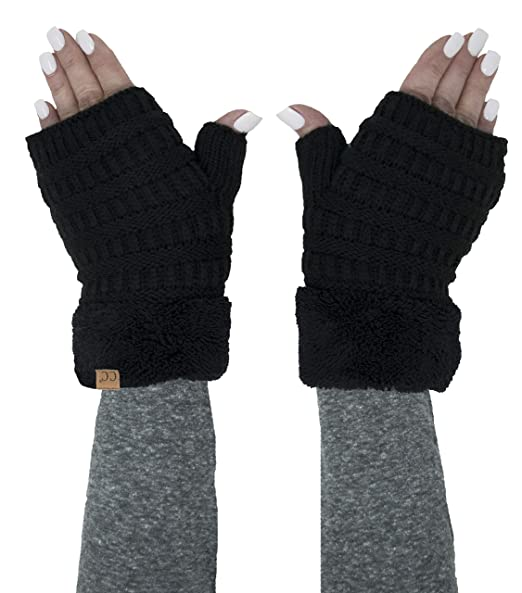 FG-6020a-06 Fingerless Fuzzy Lined Knit Glove: Black