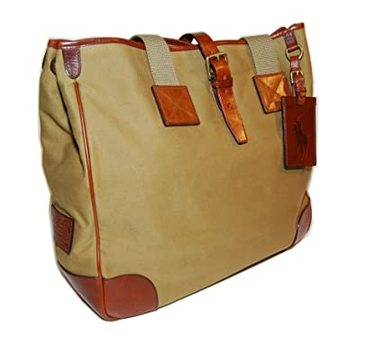 24e8a3ae7d Image Unavailable. Image not available for. Color  Polo Ralph Lauren Mens  Womens Vintage Canvas Leather Brown Tan Tote Bag Handbag