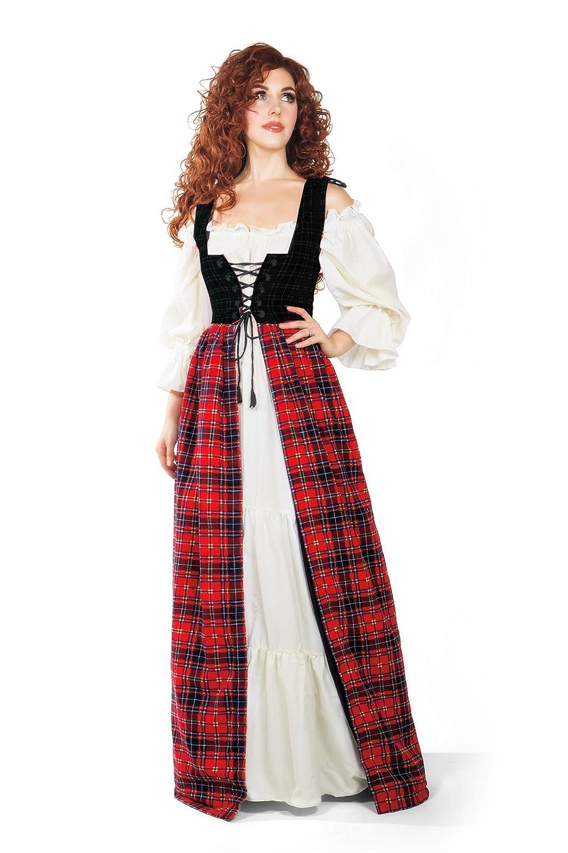 Amazon.com: Renaissance Scott Tartan Irish Dress & Chemise Set (L/XL ...