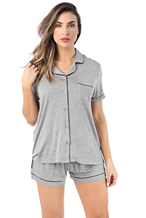 9a9dfdd58 #followme Button Down Pajama Shorts Set with Notch Collar at Amazon Women's  Clothing store: