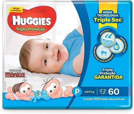 Huggies Fralda Tripla Proteção Mega P, 60 Fraldas