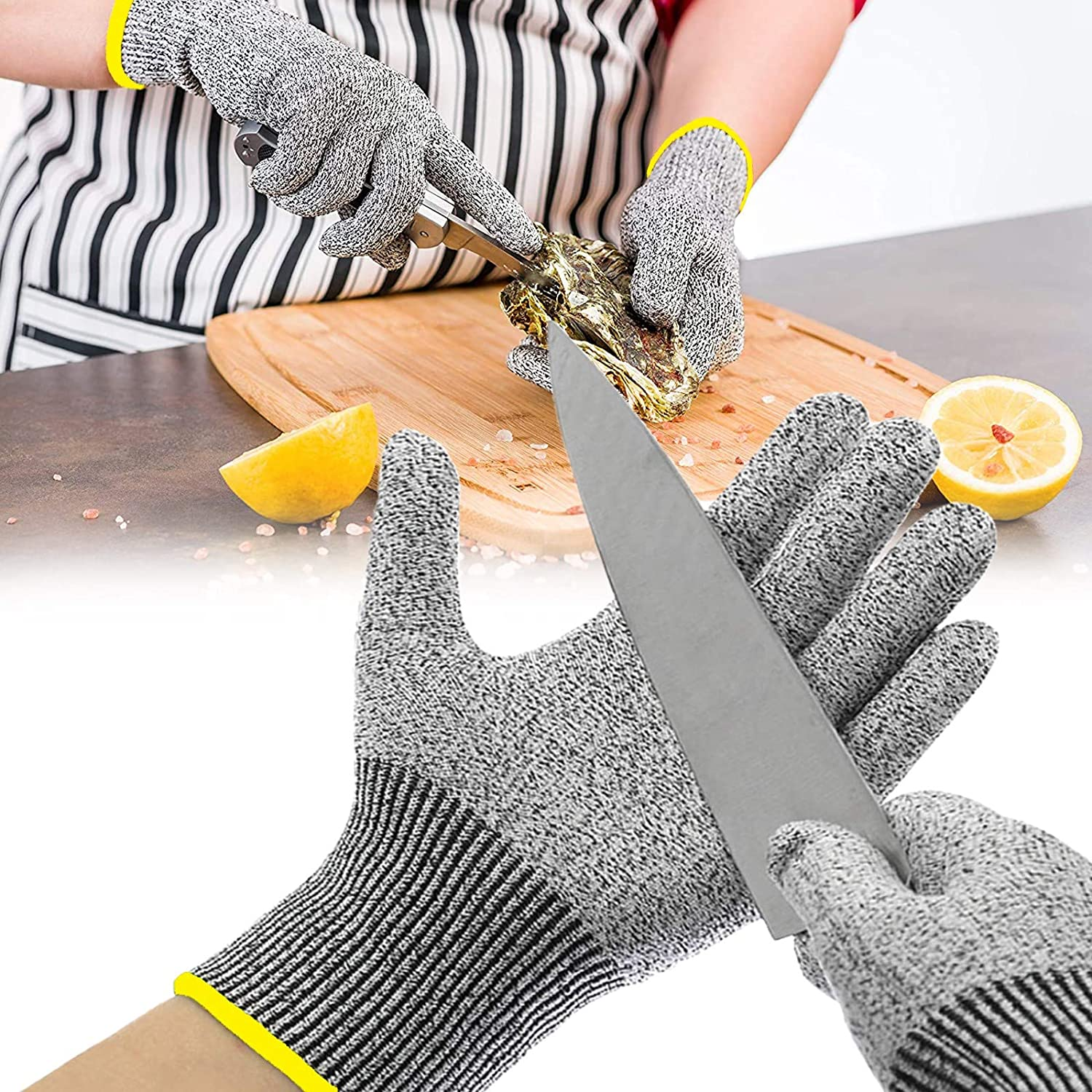 Cut Resistant Gloves Food Grade, Level 5 Protection Cut Proof Gloves, Work Kitchen Cutting Gloves for Oyster Shucking, 1 Pair
