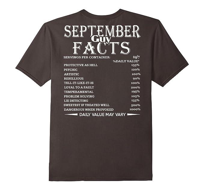 Mens September Guy Facts Born In Birthday Gift T Shirt 2XL Asphalt