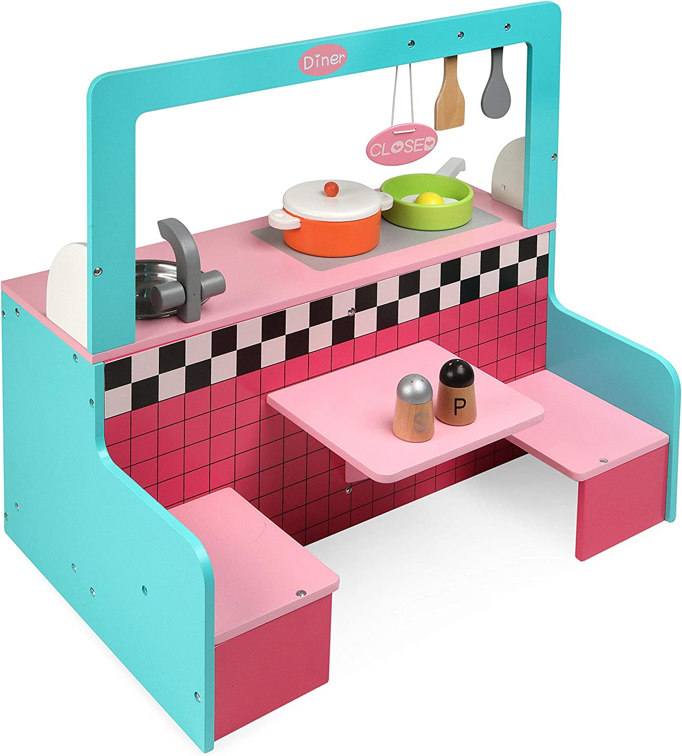Badger Basket Retro Diner and Kitchen Doll Playset with Cookware for 18 inch Dolls, Bright Pink/Light Pink/Cyan/White/Grey