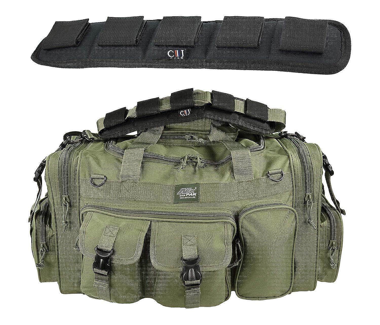 【国内正規総代理店アイテム】 メンズ 18インチ ダッフル ギア モール 3800 タクティカル ギア 肩掛け 旅行バッグ キーリングカラビナ付き Duty B07M9M18Z3 Olive Green with Heavy Duty Shoulder Pad 26
