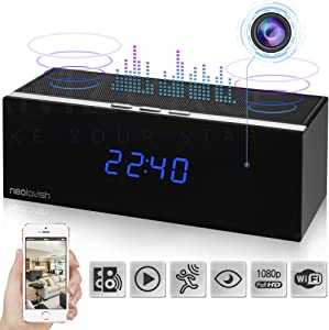 Wireless Camera Clock - Camera Motion Detection - WiFi Clock Camera- Night Vision - Secret Camera - Nanny Cam - Home Office Clock Camera - 140 Angle View - Clock Camera with WiFi Cam - Loop Recording