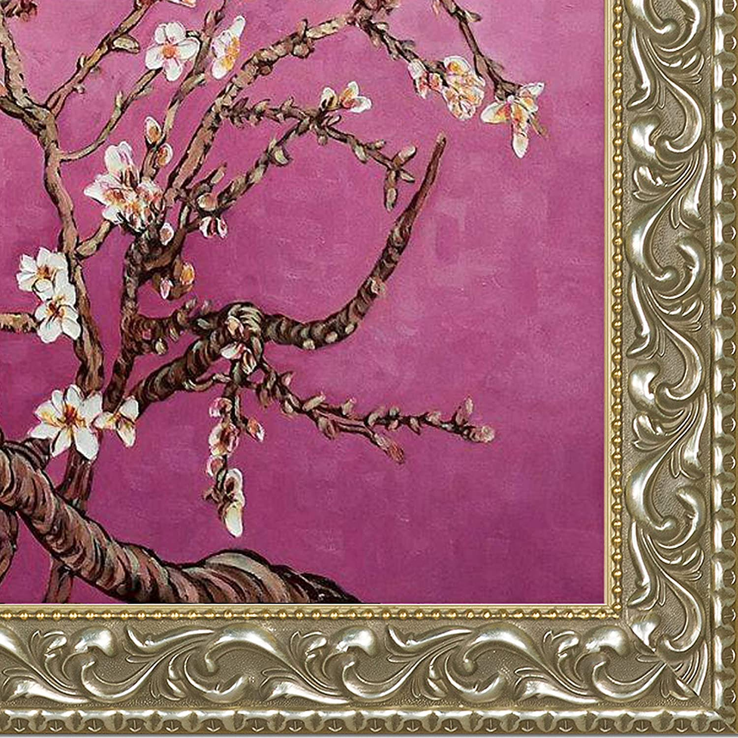 Magenta Framed Hand Painted Original Artwork with Rococo Silver Frame OverstockArt La Pastiche VG7029-FR-N11620X24 Branches Of An Almond Tree In Blossom