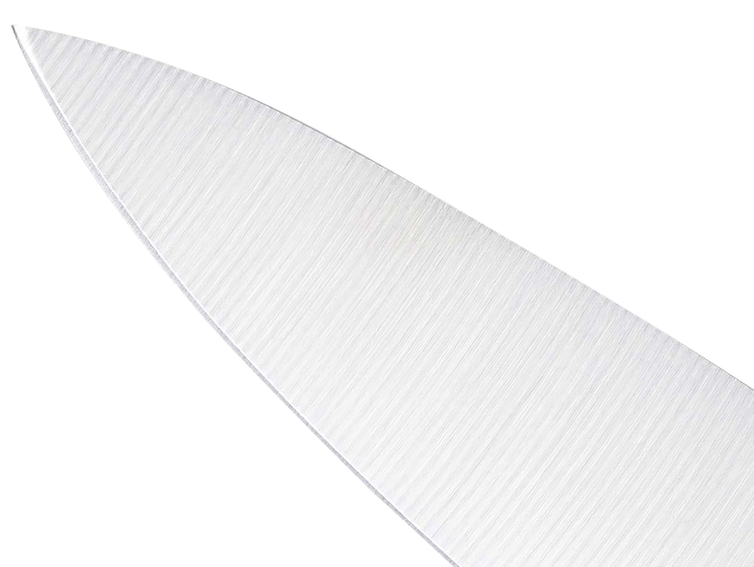 Mercer Culinary M22608WBH Millennia 8-Inch Chef's Knife, White 2 Ergonomic handle - a combination of Santoprene for comfort and polypropylene for durability Textured finger points provide slip resistance, grip, and safety Protective finger guard