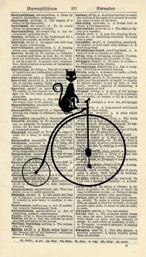 BLACK CAT ART PRINT - VINTAGE ART PRINT - PENNY FARTHING ART PRINT - STEAMPUNK Illustration - Vintage Dictionary Art Print - Wall Hanging - Home Décor - Housewares - Book Print - 348B Vintage Reflectionz