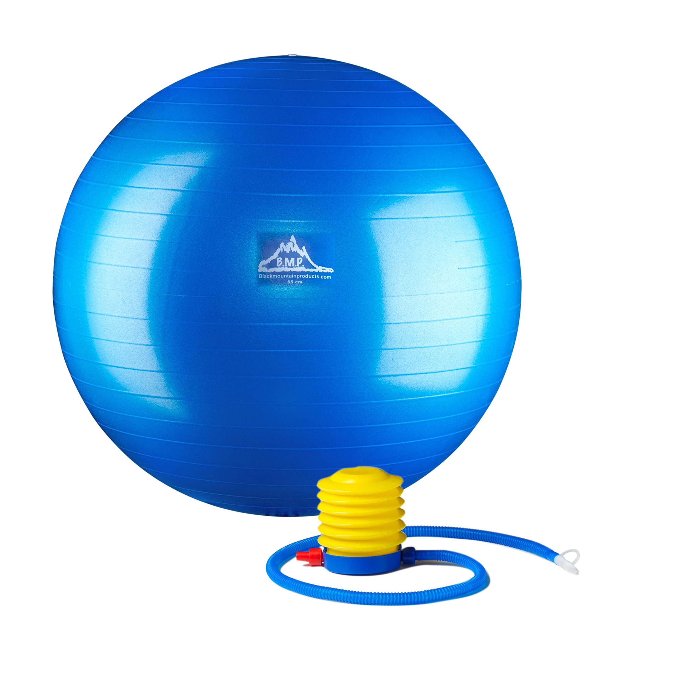 Black Mountain Products Professional Grade Stability Ball - Pro Series 1000Lbs Anti-Burst 2000Lbs Static Weight Capacity Blue