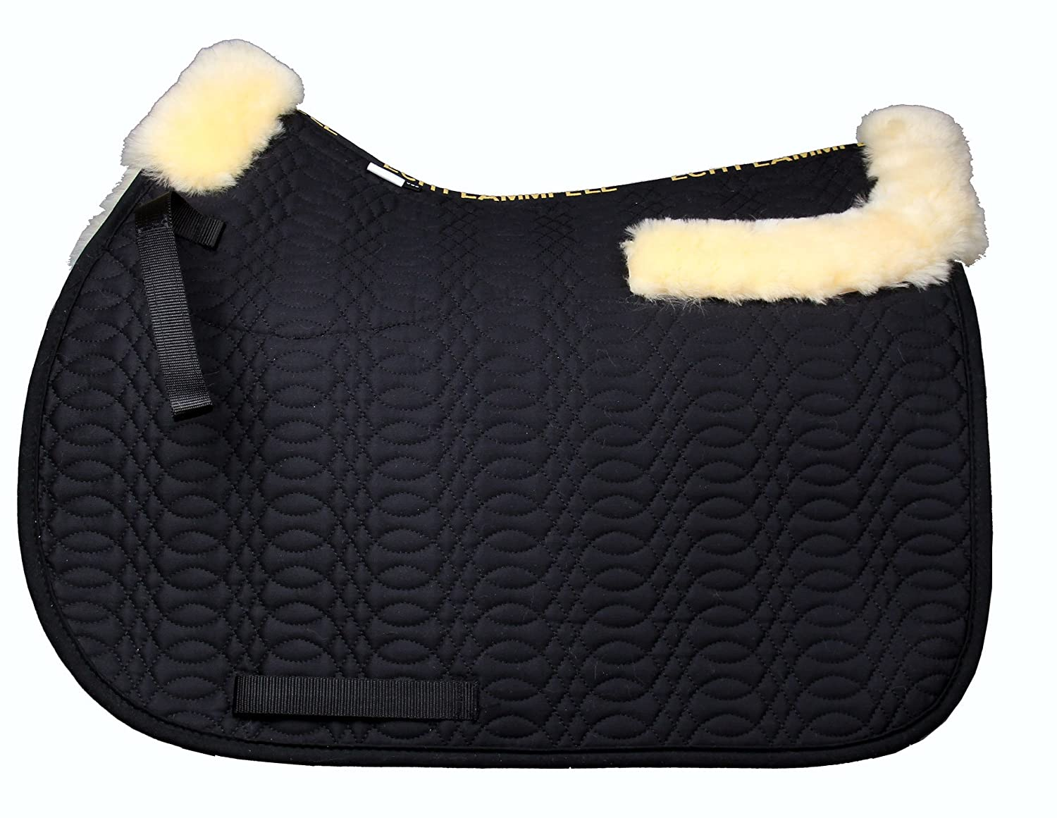 (VSS., Natural Wool+Black Quilting) - merauno Sheepskin GP Saddle Pad Full Blanket Dressage Jumping Numnah Saddlecloth & Square Saddle Pads Horse Riding Show General Purpose Pad   B078W3NWVF