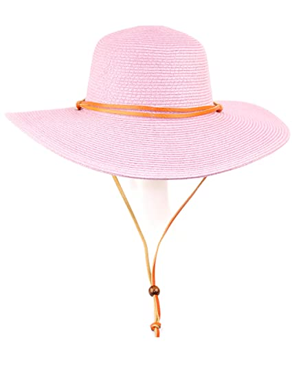 5ec5517413947 ANGELA   WILLIAM Women s Wide Brim Braided Sun Hat with Wind Lanyard Rated UPF  50+