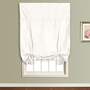 United Curtain Anna Tie Up Shade, 40 By 63 Inch, White