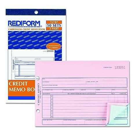 amazon com rediform credit memo carbonless triplicate 5 5 x 7 87