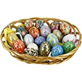 Set of 18 Wooden Easter Eggs Ornaments in Basket With Colorful Artwork for Home Decor
