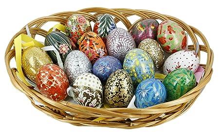 Shalinindia paper mache wooden ornaments easter eggs decorations set shalinindia paper mache wooden ornaments easter eggs decorations set of 18 negle Choice Image