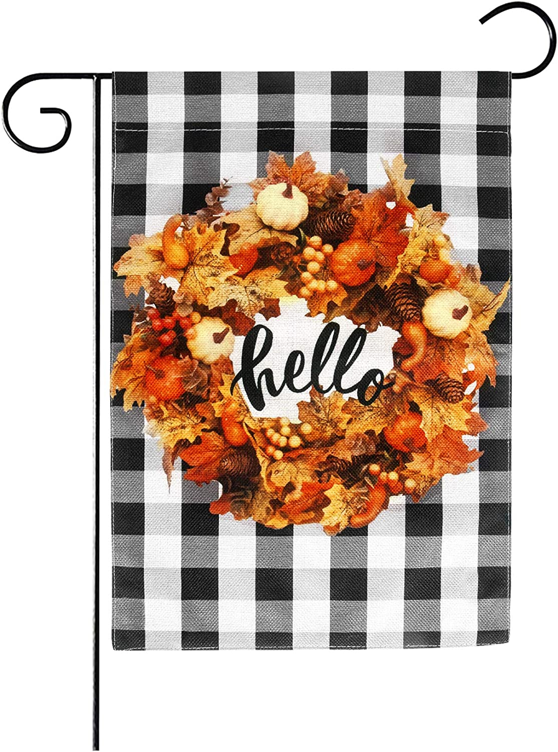 Amandir Fall Garden Flag, Thanksgiving Outdoor Decor 12 x 18 Double Sided Burlap Fall Leaves Wreath Welcome Yard Flag, Buffalo Plaid Fall Decor Outside Farmhouse Front Porch Decorations