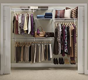 ClosetMaid 22875 ShelfTrack 5ft. to 8ft. Adjustable Closet Organizer Kit, White
