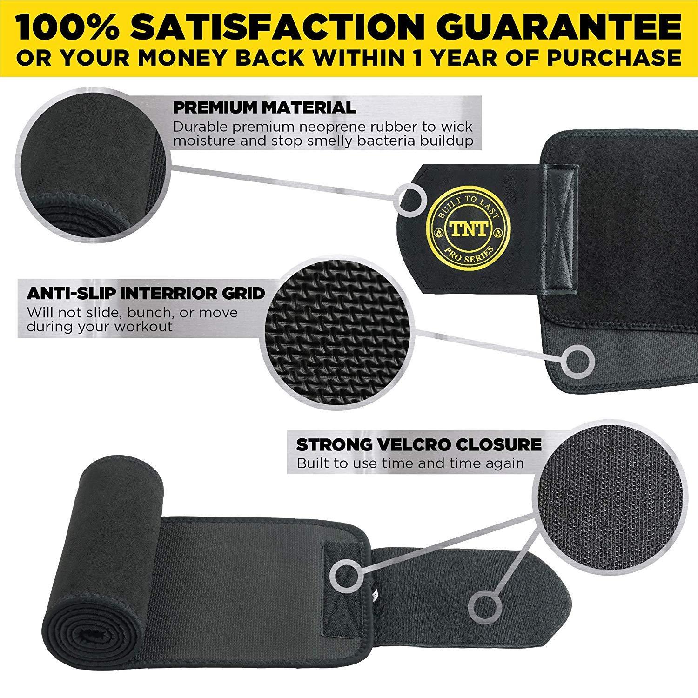 eba042537a Amazon.com  TNT Pro Series Waist Trimmer Weight Loss Ab Belt - Premium  Stomach Fat Burner Wrap and Waist Trainer  Sports   Outdoors