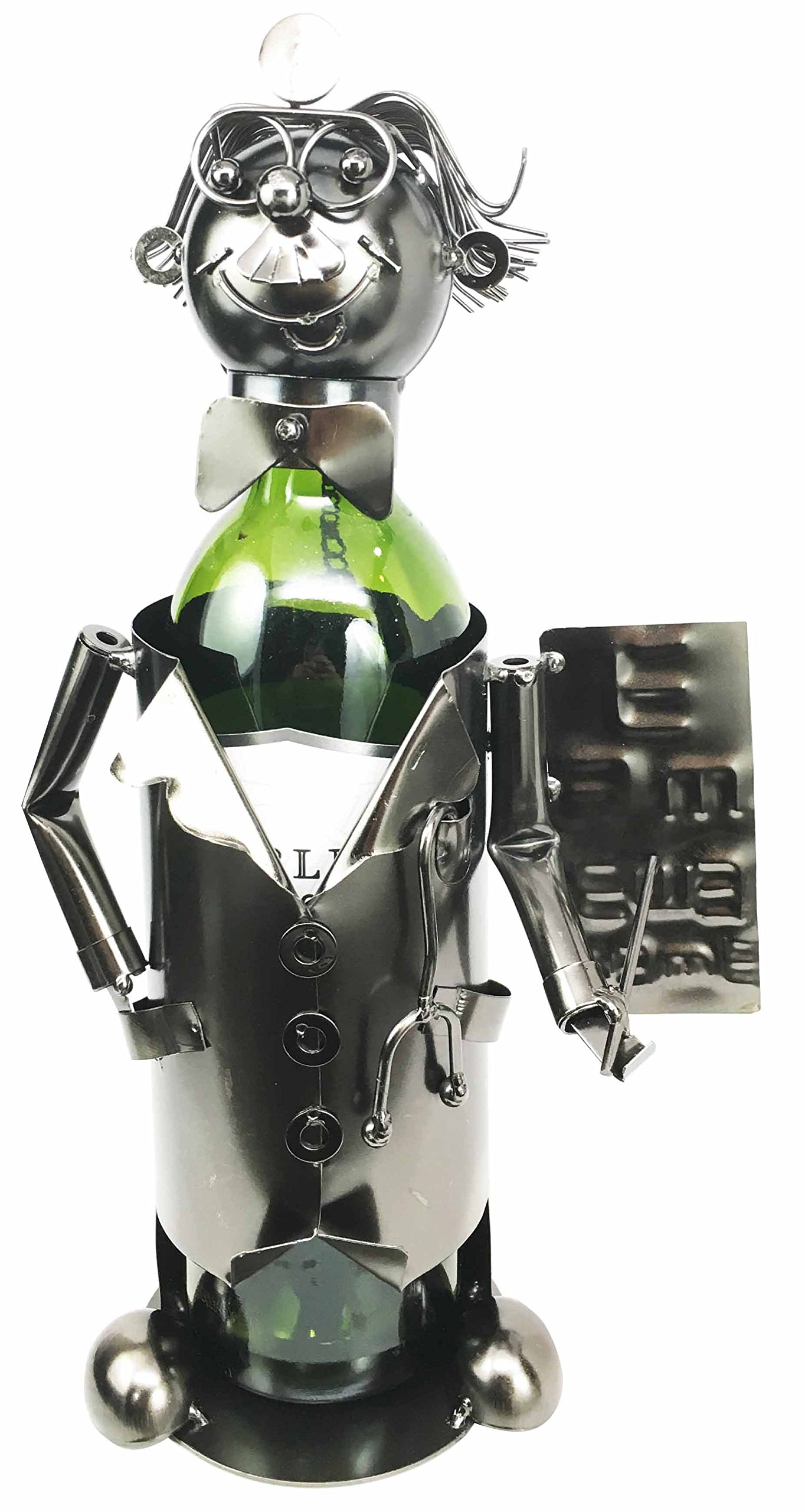 Clinical Optometrist Eye Doctor Performing Checkup Hand Made Steel Metal Wine Bottle Holder Caddy Great Gift For Doctors Physicians and Eye Surgeons