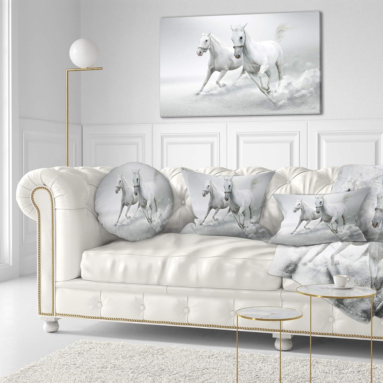 Sofa Throw Pillow 20 Designart CU13466-20-20-C Running White Horses Animal Round Cushion Cover for Living Room